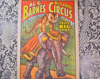 1960's Posters/Two Vintage Circus Posters/Set of 2 /Dated/Paper Ephemera / Decor /Barnum and Bailey Circus Al G. Barnes/Home Decor/Art