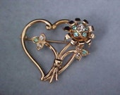 Reduced ~ AQUAMARINE & DIAMANTE Open Gold Plate Heart  and  Floral Brooch/Pin