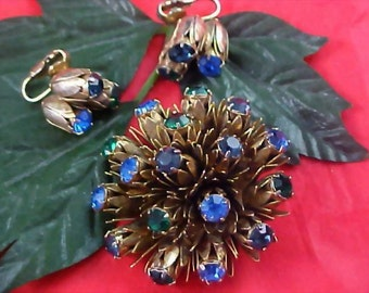 Magnificent Blue & Green Rhinestones Set in Florals Brooch  ~  Matching Earrings