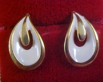 REDUCED~Ivory Colored Thick Enamel Gold Plate Post Earrings