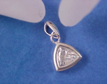 Sterling Silver Massive Triangle Bezel Set Cubic Zirconia Pendants