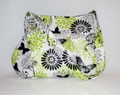 Pleated Hobo Bag in White, Black, Chartreuse Green Butterfly Florals-MEDIUM