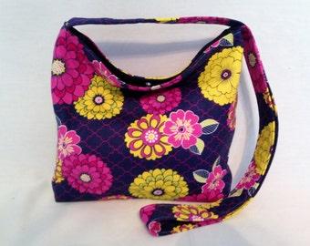 Cross Body Shoulder Bag Florals Purple Yellow Pink Zinnias