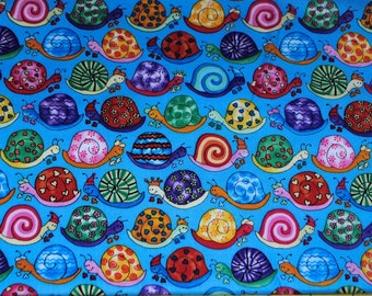 Fat Quarter Bright Silly Snails on Blue Background