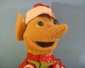 Christmas Elf in Red White and Green Hand Puppet