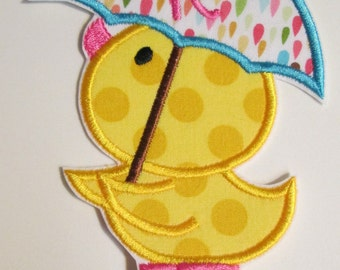 Iron On Applique -  Spring Duckie with Umbrella