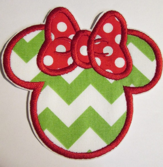 Iron On Applique - Mini Mouse Head In All Sizes  READY TO SHIP in 3-7 Business Days