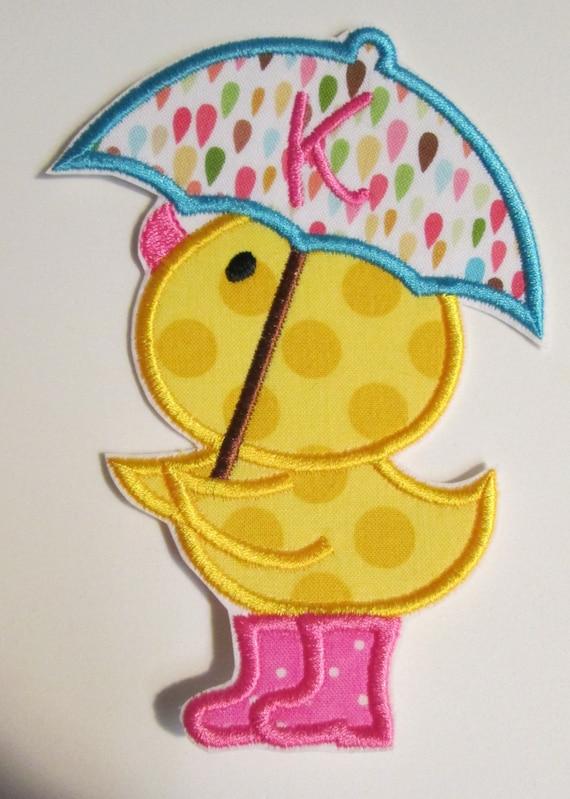 Iron On Applique -  Spring Duckie with Umbrella