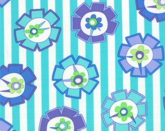 Turquoise Flower Stripe Hubba Hubba Fabric - Moda - Me and My Sister - 22211 14