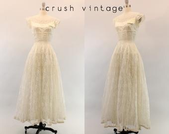 50s Wedding Dress Lace XS / 1950s Dress Wedding Gown /  Words of Love Dress
