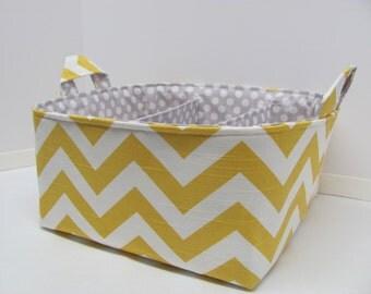 "Diaper Caddy - Fabric Storage Basket - 11""x11"" Organizer Bin - Storage box - Diaper Bag - Baby Gift - Nursery Decor - Yellow Chevron Zigzag"