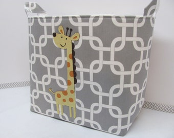 NEW Fabric Applique GIRAFFE XL Extra Large Organizer Basket Storage Container Toy Bin Bag Bucket - You Choose the fabrics