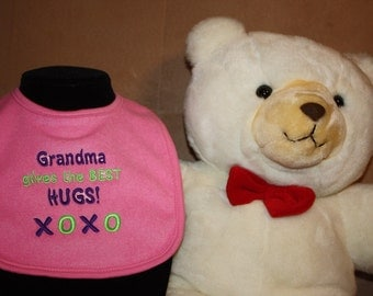 Embroidered Bib for Baby-GRANDMA Gives Best Hugs-PINK