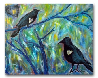 SALE Ravens Painting 24x30 Modern Fine Art Acrylic on Canvas black birds crows in tree blue green colorful large art contemporary home decor