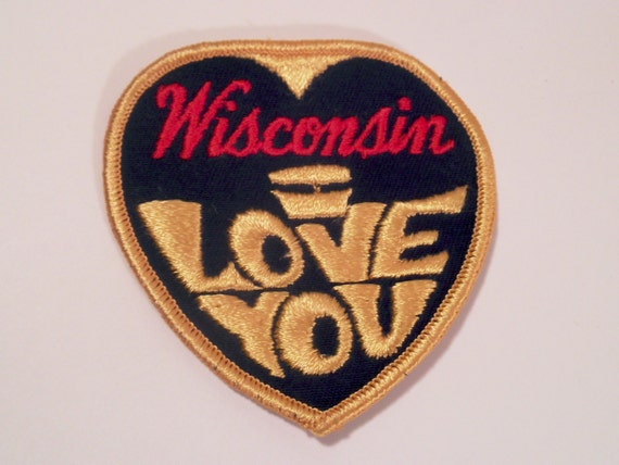Wisconsin I Love You Embroidered Patch 1970s heart