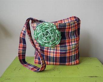 Cross Body Bag/ Market Tote/ Plaid/ Back to School Bag