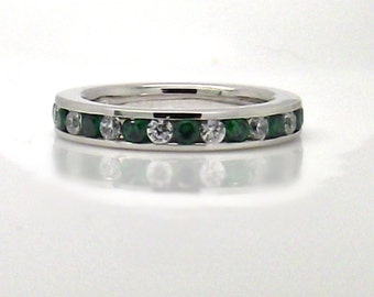 Diamond and Emerald CZ Eternity Wedding Band - 925 Sterling Silver Plated with White Gold Stack Ring - Channel Setting