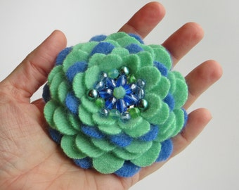 Green Blue Cashmere Flower Brooch Pin with Vintage Earring Center