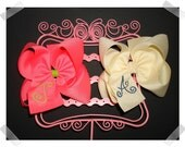 2 Large Monogrammed Embroidered Boutique Hair Bow Clips You Pick Colors