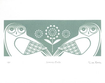 Snowy Owls In Sage Grey - Hand Pulled, Signed, Gocco Print
