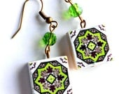 Portugal Antique Azulejo Tile Replica Earrings from OVAR Portugal - GREEN (see photo of actual Facade)   Waterproof and reversible 623