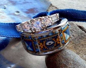 Portugal Antique 17th Century Gold Blue Azulejo Tile Rhinestone Ring SET - Tomar - Stackable - Santa Iria Church  US size 8, UK Q, size 18