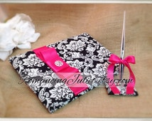 Waverly Damask Wedding Guest Book Set...You Choose the Colors..shown in hot pink fuschia