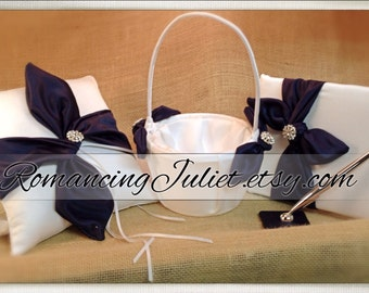 Knottie Style Wedding Set with Rhinestone Accents...Ring Pillow/Flower Girl Basket/Guestbook and Pen Set..shown in white/navy blue