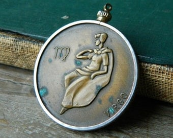 Vintage Virgo Zodiac Coin Pendant. Bronze Zodiac Two Sided Coin Pendant.