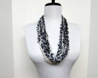 Circle of Chains Necklace Scarf in Black, White, Charcoal and Gray  - Ready To Ship Infinity Circle Crochet Scarf