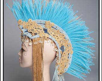 Morning Light.. Mohawk Headdress In Gold N Blue