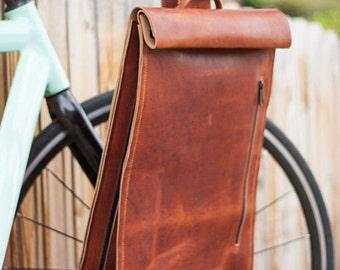 Saddle Brown Leather Messenger Bag