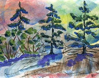 Original Watercolor ACEO Art Card, Wild Forest Land, Evergreens