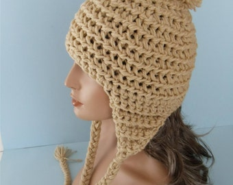 Beige Crocheted Ear Flap Hat with Pompom