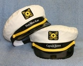 Set of two Yacht CAPTAIN'S HATS: Personalized, maybe one for him and one for her ..... Great for any Nautical occasion Style #200-2