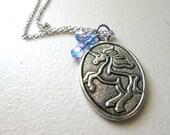 Silver Mystical Oval Unicorn Necklace