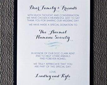 Printed Calligraphy Design - Wedding Favor / Donation Sign