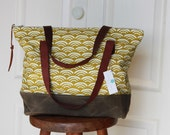 Organic Cotton Canvas Tote Bag with Leather Handles and Waxed Canvas Base. Mustard Waves.