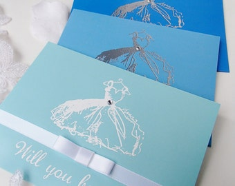 Will you be my..Cobalt/Cornflower Blue cards, matching envelopes-handstamped- Bridesmaid,Maid/Matron of Honor,Flower Girl-Set of 6- OOAK