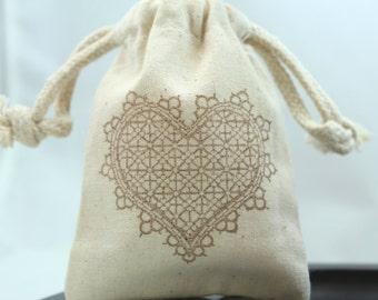 Favor Bags - Lace Heart - Wedding favors, Showers, Valentines