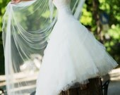Shiny and Beautiful White Shimmer Cathedral Length One Tier Wedding Veil Bridal Veil With Precision Cut Edges 108 Long and 108 Wide  04200