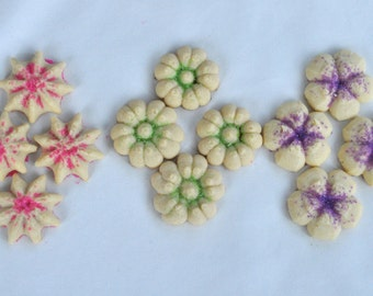 Spring Butter Cookie Flowers - 6 dozen homemade cookies