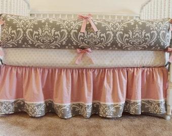 Custom Crib Bedding Set - Soft Damask in Grey and Pink - Monogrammed bumper