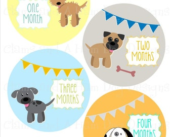 Monthly Milestone Stickers- Girls or Boys Gender Neutral Puppy Monthly Bodysuit Stickers- Baby Month Stickers- Monthly Baby Stickers- NEU148