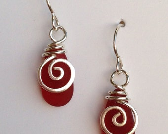Mermaid Tear Drop RED  Earrings