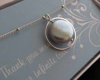 Gift for mother, eternity necklace, pearl solitaire necklace, gift for mother in law, wedding day, silver gray, blush pink, mom