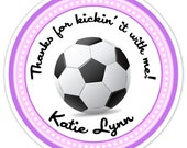 Custom Soccer Birthday Labels, Girl's Soccer Stickers, Soccer Stickers - Personalized for YOU