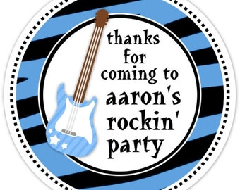 Custom Rock and Roll Birthday Labels, Boys Rock Stickers - Personalized for YOU
