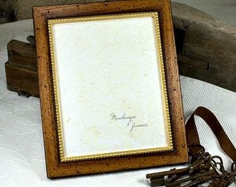8x10 Rustic Brown Wood and Gold Photo Frame