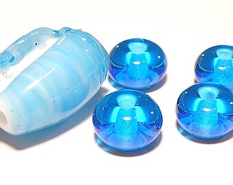 70% OFF SALE -- DESTASH -- Set of Five (5) Aqua Blue Conch Shell Focal Bead and Rondelles - Lot N